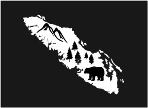 Vancouver Island Bear Tree decal WHITE 7.5″ ***FREE SHIPPING***