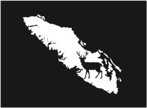 Vancouver Island Deer decal WHITE 7.5″ ***FREE SHIPPING***