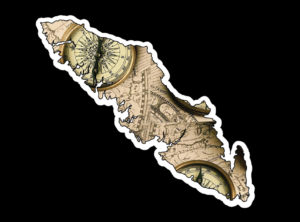 Vancouver Island Compass Maps print 7.5″ ***FREE SHIPPING***