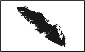 Vancouver Island Solid Outline design BLACK COLOUR 7.5″ ***FREE SHIPPING***