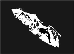 Vancouver Island Orca Trees decal WHITE 7.5″ ***FREE SHIPPING***