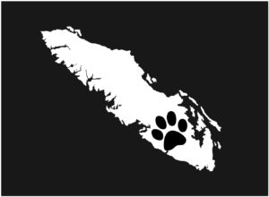 Vancouver Island Paw Print decal WHITE 7.5″ ***FREE SHIPPING***