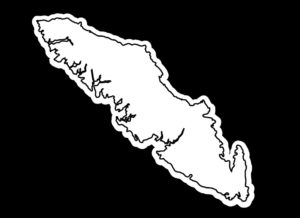 Vancouver Island outline white w/black print 7.5″ ***FREE SHIPPING***