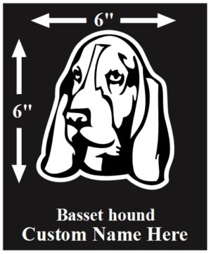 Basset Hound Custom Name decal ***FREE SHIPPING***