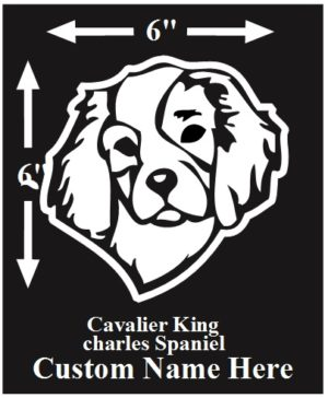 King Charles Spaniel Custom Name decal ***FREE SHIPPING***