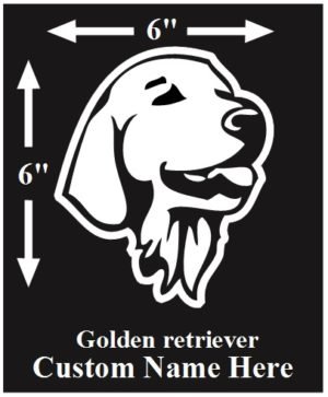 Golden Retriever Custom Name decal ***FREE SHIPPING***