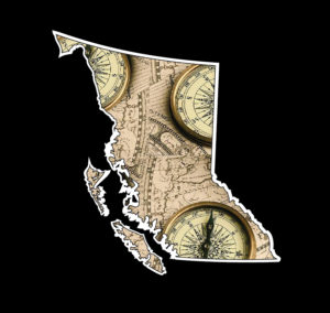 British Columbia Compass Map Decal ***FREE SHIPPING***