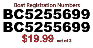 Set of 2 Boat Registration Decals ***FREE SHIPPING***