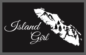 Vancouver Island Girl decal sticker with running girl in the island