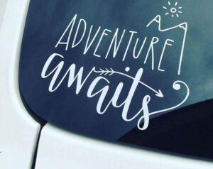 Adventure Awaits White Vehicle Decal